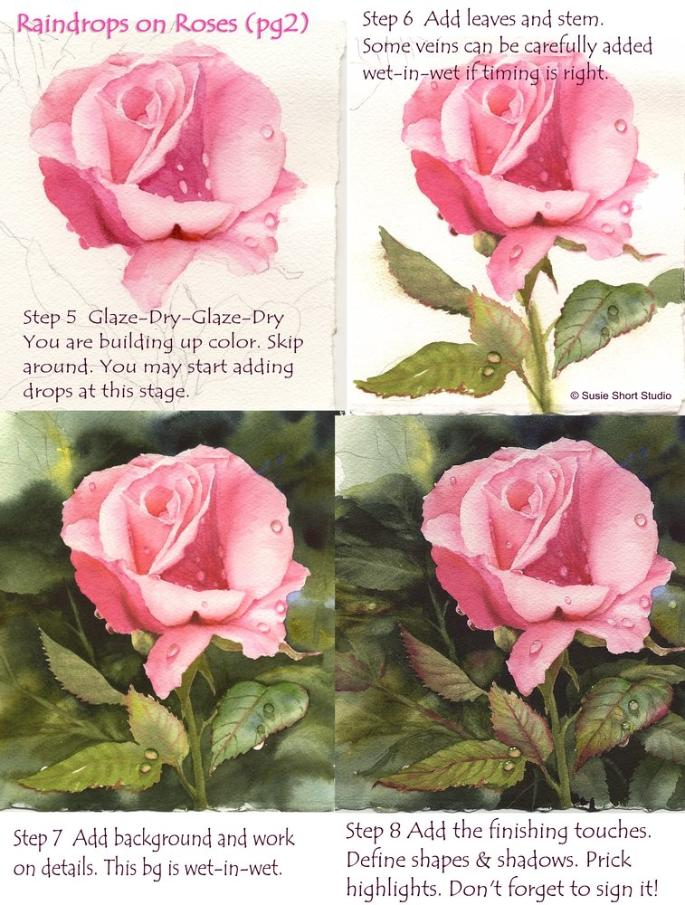 Painting Raindrops on Roses in Watercolor with Susie Short pt 2