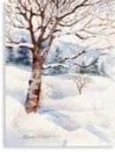 Winter Tree Watercolor Card